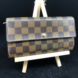 LOUIS VUITTON Brown Ebene Canvas Sarah Long Wallet